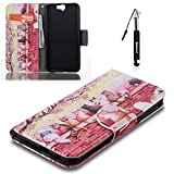 HTC One A9 Hülle, HTC One A9 Tasche Leder , Huphant Flip Case Leder [Painting Serie]PU Leather Case Wallet Case Magnet Case Book Case Schutzhülle Klappbar für HTC One A9(5 Zoll)+1X Schwarzer Stylus Touchscreen Pen - Cats on the Wall