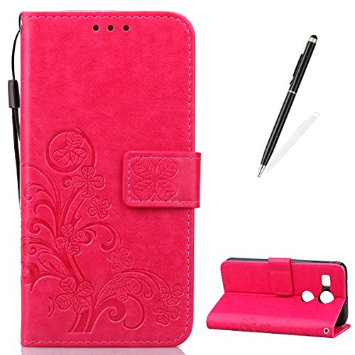51hUOF5YgqL - NO.1 BETTING CaseHome LG Goole Nexus 5X Embossed Leather Case [With Free Black Stylus Pen],[Four Leaf Clover] Patterned Design Folio Magnetic Flip Stand Feature with Card/Cash Slots and Wrist Strap Premium PU Leather Wallet Case Cover Skin Shell for LG Goole Nexus 5X-Pink Reviews