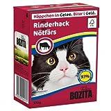 16 x Bozita Cat Tetra Recard Häppchen in Gelee Rinderhack 370g, Nassfutter, Katzenfutter