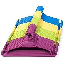 Perchas infantiles, juego de 25 unidades de perchas para armarios infantiles. Color: verde