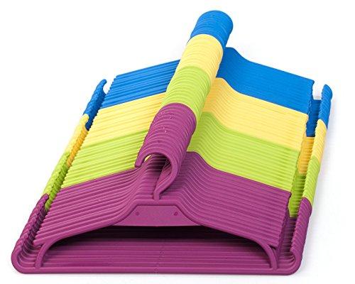 Perchas infantiles, juego de 25 unidades de perchas para armarios infantiles. (Amarillo)