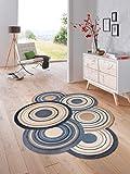 Bavaria-Home-Style-Collection Teppich Läufer wash + Dry Cosmic modern Rund Kreise bunt oder braun waschbar (Braun)