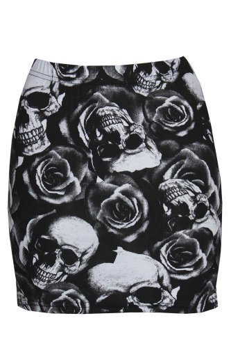 Mini-Rock, Leopard, Rosen / Totenkopf, Streifen, Wow, Damen Gr. Medium, Skull Rose (Stretch-rock Streifen)