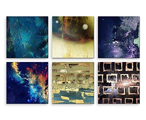 Sinus Art Bilder Set 6 Stück 40x40cm Motiv Blautöne Dunkel Lebhaft Expressiv