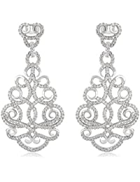 SHAZE Rhodium Plated Lotus Lace Earrings For Women|Earrings For Women|Earrings For Women Stylish