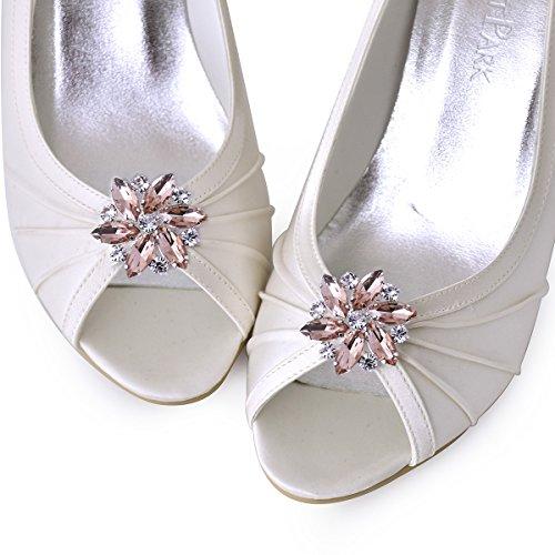 ElegantPark AJ Damen Passenden Fashion Tanzschuh Party Schuhe Clutch Tasche Hat Kleider Strass Schuh clips 2 St¨¹ck Blush