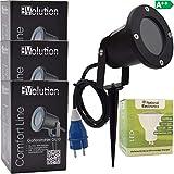 3x Evolution LED Strahler 3,5W mit Erdspieß mit Kabel und Stecker LED Gartenlampe 230V IP54 inkl. GU10 LED Gartenstrahler Strom Anschlußkabel stehend LED Außenleuchte für Steckdose