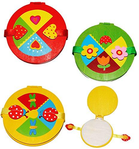 alles-meine.de GmbH CDbox aus Holz - für 10 Stück - CD -  Bunte Figuren  / für Mädchen - Tasche - Blumen & Tiere - Mappe / Holzbox Aufbewahrung - für Kinder - Wallet Hülle Box .. -