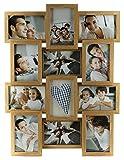 levandeo Holz Bilderrahmen Farbe: Eiche natur braun hochwertig verarbeitet für 12 Fotos 10x15cm mit Glasscheiben - Querformat und Hochformat Fotogalerie