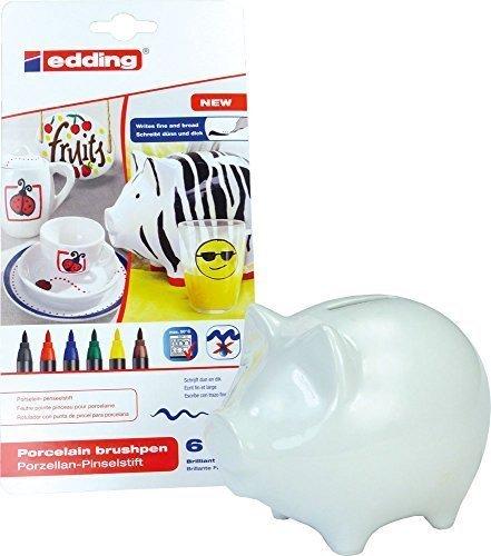 SET: Porzellan-Sparschwein - 14 x 10 cm + Edding 4200 Porzellan-Pinselstifte - für kreatives Basteln zu Hause (Schwein + bunte Farben (6 Stifte))