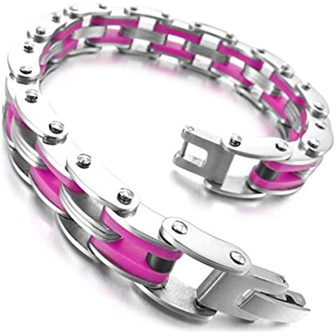 MunkiMix Acero Inoxidable Resina Pulsera Brazalete Eslabones Link Enlace Muñeca Plata Rosa Pink Punk Roca Biker