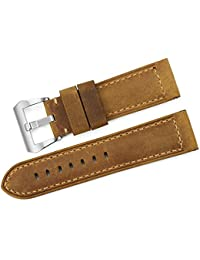 iStrap 24mm Vintage de piel auténtica para Panerai Luminor 44Hombres de banda correa de reloj militar–marrón