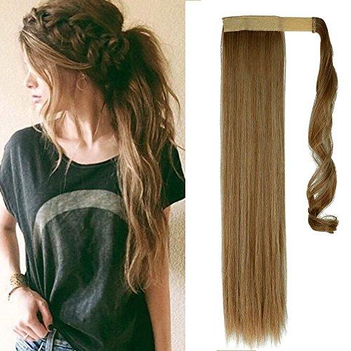 Extension coda capelli clip in coda di cavallo hair sintetici finti lisci 58cm parrucca ponytail - castano cenere chiaro mix biondo chiarissimo