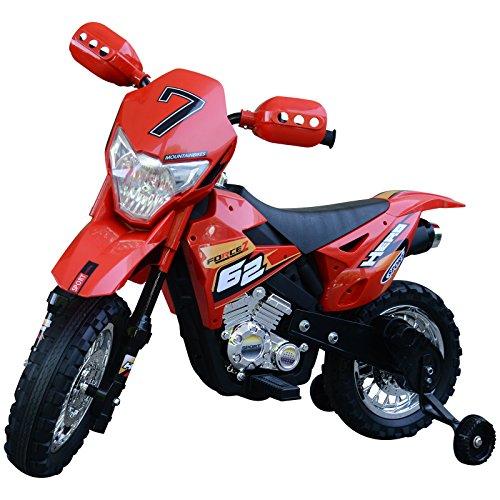 homcom Moto da Cross Elettrica con Rotelle Bambini 107 × 53 × 70cm Rosso