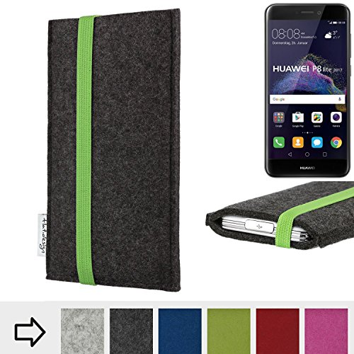 flat.design Handy Hülle Coimbra für Huawei P8 Lite 2017 Dual SIM handgefertigte Handytasche Filz Tasche fair grün dunkelgrau