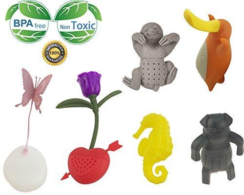 Creative Cute Animal Umweltfreundlich Silikon Tee-Ei Sieb Set von 6PCS Schmetterling Rose Seepferdchen bradypod brady-pod Schnabeltier Mops Tee Steiler Tee Lover 's Geschenk Tee Steiler