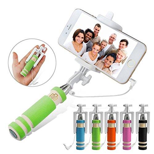 I-Sonite (Grün) universell einstellbar Mini Selfie Kamera Stock-im Taschenformat Einbeinstativ Einbau-Fernauslöser für Huawei Honor 6A