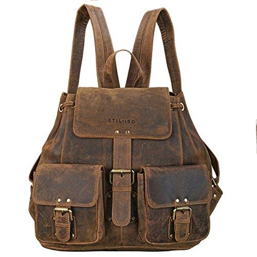 Leder Rucksack Verarbeitetes (STILORD 'Larissa' Vintage Rucksack Leder Damen Rucksackhandtasche Lederrucksack Handtasche DIN A4 City Shopping Daypack Schule Uni, Farbe:mittel - braun)