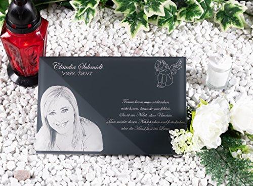 CHRISCK design Grabstein Gedenkstein aus hochwertigem Hochglanz Acrylglas (bruchsicher/wetterfest) Grabplatte mit Gravur/Fotogravur ab 20x15 cm cm Gedenktafel für Menschen Andenken Außenbereich (Andenken-datei)