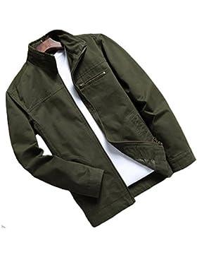 Dehutin Hombres Casual Intemperie abrigo Suelto Talla grande Chaqueta Peso ligero full Zip Chaqueta
