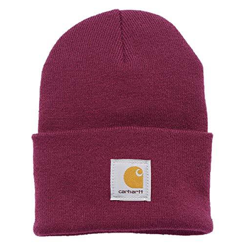 Carhartt Watch Hat Mütze Damen | One Size | Viele Farben | Label-Patch | Rib-Strick-Gewebe | Warm Top Qualität Top Preis (Raspberry)