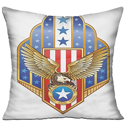 ZMYGH Eagle Heraldic Illustration of Symbol of Freedom Golden Winged Eagle with Flag of States Decorative Gold Red Blue Home Decor Throw Pillow Cover 18