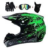 DIMPLEYA Crosshelm Motocross-Helm Outdoor-Jugend Racing Safe Cross Helm MX Motorrad Enduro Grüner...