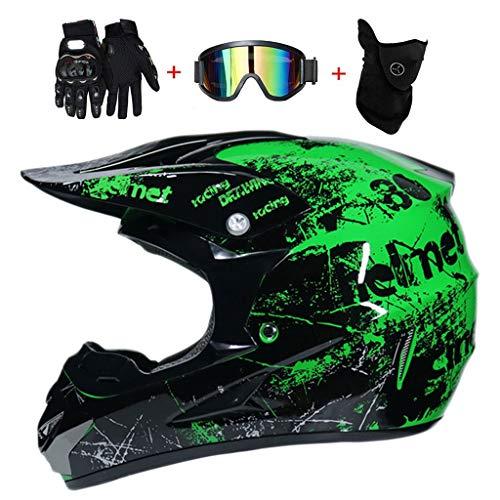 DIMPLEYA Crosshelm Motocross-Helm Outdoor-Jugend Racing Safe Cross Helm MX Motorrad Enduro Grüner Druck(Handschuhe Schutzbrille Maske Kostenlos),M54~55CM