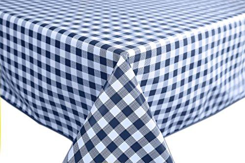 Wachstuch Tischdecke Abwaschbar Eckig 140 x 200 cm Kariert Karo Blau