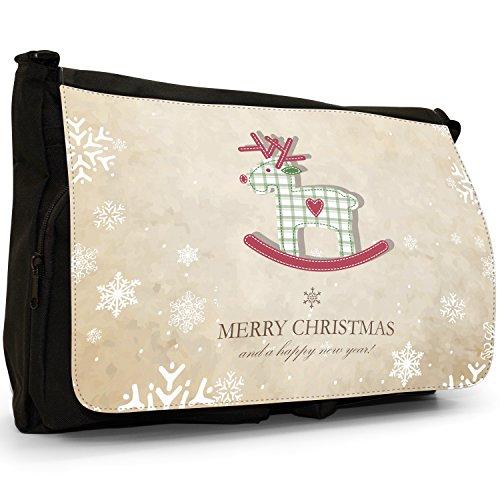 Rentier Tartan Schaukeltier mit roter Nase Große Messenger- / Laptop- / Schultasche Schultertasche aus schwarzem Canvas