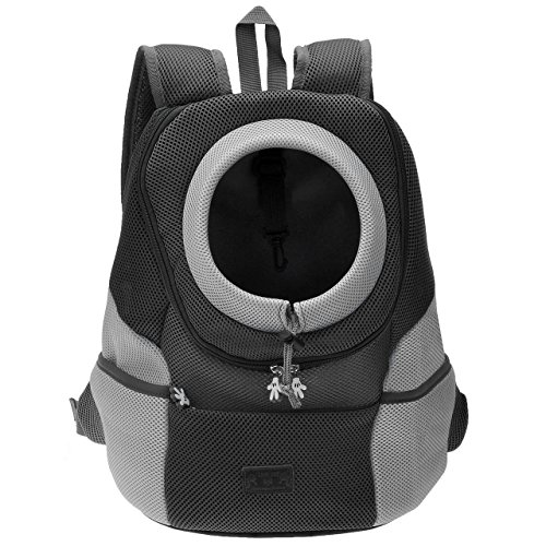 Mogoko Haustier Hundetasche Rucksack Atmungsaktive Rucksäcke mit Straps Netzfenster Hundetragetaschen für Hund Katze Puppy Outdoor Reise Wandern Umhängetasche (M, Schwarz)