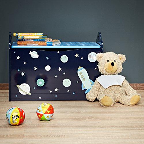FABELBUNT® Spielzeugtruhe mit viel Stauraum und sicherem Deckel aus Holz (62x 45x 36cm) -