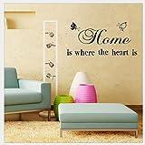 Romote parete decalcomanie - Decor Adesivi da parete a parete 45 * 30cm casa è dove il cuore è per soggiorno, camera, Lounge bar, la casa, bagni