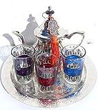 kenta Juego de té marroqui Original 3 Vasos con Dibujos Estilo Henna, Tetera para 3 y Bandeja de 25 cm repujada a Mano + un Llavero Adorno Mano de Fatima (Morado Rojo Azul)