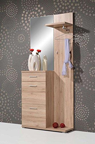 Kompaktgarderobe in Sanremo-Eiche Nachbildung mit Spiegel, Schubkasten, 2 Schuhklappen für 8 Paar Schuhe, Hutablage, Kleiderstange und 2 Haken
