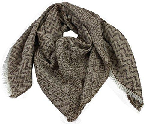 Preisvergleich Produktbild Schal Webschal Zick Zack modisch braun beige 100% Wolle (Merino)R-644