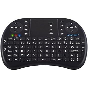 ESYNiC Mini Clavier Rétroéclairé AZERTY Avec Trackpad Télécommande Tactile Androïde pour Dongle Box Android TV Tivo HTPC IPTV Talette PC Raspberry Pi Console VidéoProjecteur