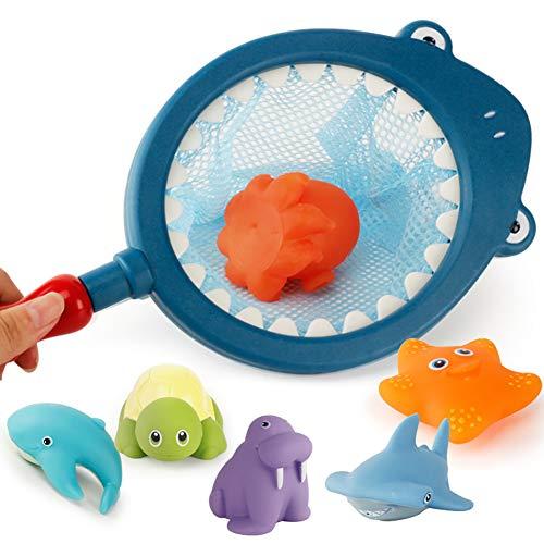 asser-Schwimm Spielzeug-Meerestiere Tiere Pool-Spielzeug Squeaky Dusche Spielzeug für Baby (dunkelblau) ()