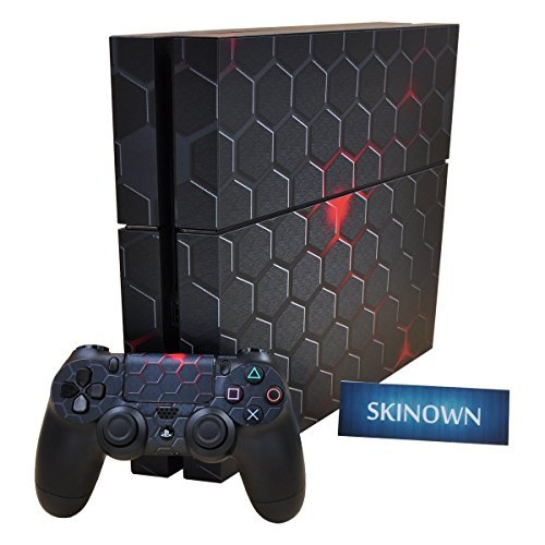 SKINOWN® PS4 Skins Hexagon Metal Sticker Vinly Decal Cover for Sony PS4 PlayStation 4 Console and Controller by SKINOWN