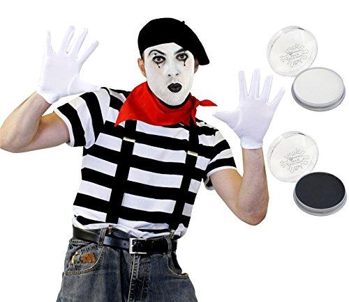 ILOVEFANCYDRESS Pantomime Mime Clown KOSTÜM VERKLEIDUNGS Set+SCHWARZEM Beret=STRASSENKÜNSTLER= BEINHALTET-T-Shirt+ Beret/Hut+Halstuch+Make UP+Schwarze HOSENTRÄGER+Weisse Handschuhe=XXLarge