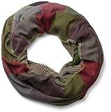 styleBREAKER warmer Karo Muster Loop Schlauchschal mit Fransen, Unisex 01018037, Farbe:Grün-Violett-Grau-Rot