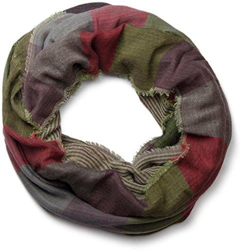 Casual Karo-muster (styleBREAKER warmer Karo Muster Loop Schlauchschal mit Fransen, Unisex 01018037, Farbe:Grün-Violett-Grau-Rot)