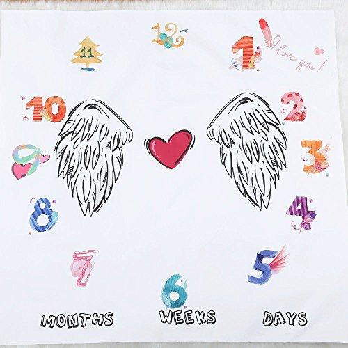Baby Meilenstein-Decke, für Neugeborene, Meilensteine, Foto-Requisite, Hintergrund, Monatliches Wachstum, Fotografie, Fotografie, Wickeltuch, 100 x 100 cm