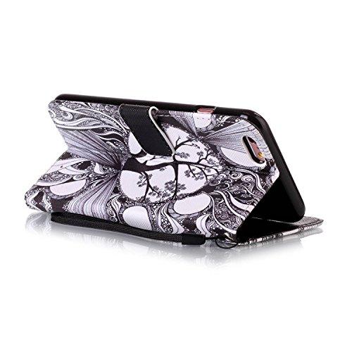Custodia iPhone 6 Plus, iPhone 6S Plus Cover, ikasus® iPhone 6 Plus / iPhone 6S Plus Custodia Cover [PU Leather] [Shock-Absorption] Protettiva Cover Custodia in pelle verniciata Gruppo di farfalle Mod albero in bianco e nero