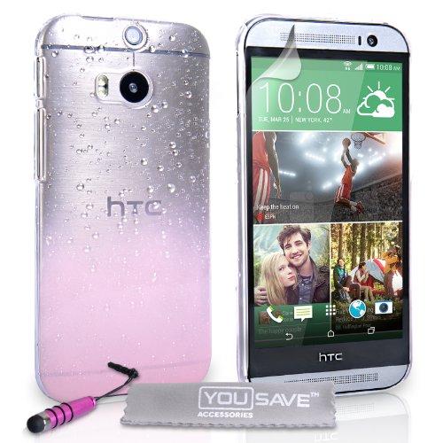 Yousave Accessories® Regentropfen Cover mit Mini Stylus Stift Für New HTC One M8-Baby Rosa/Transparent Baby Pink Hard Gummi