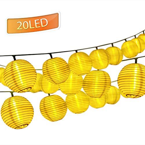 ampions,20 LEDs 3.3M Außenlichterkette Laternen,Solarbetrieben Wasserfest Dekoration für Garten Balkon Terrasse Hochzeit Party(Solar Laterne) ()