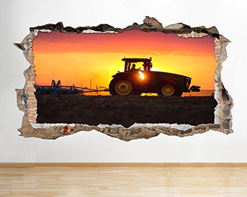 S576Farm Traktor Schneepflug Sunset zerstörten Wand Aufkleber 3D Kunst Aufkleber Vinyl Zimmer (Riesige (100x 175cm))