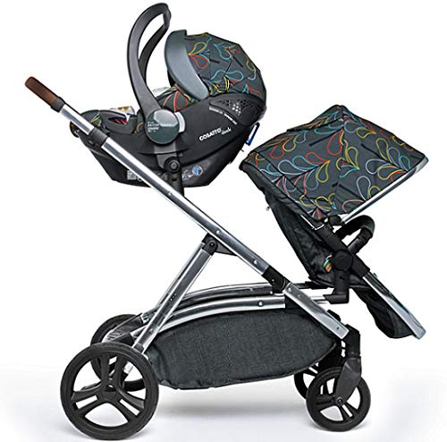 Cosatto Wow XL Tandem Pushchair in Nordik with Board car seat Bag & footmuff Cosatto INCLUDES: Chassis, Carrycot, Seat unit, Buggy board, Dock isize car seat, Change bag, Footmuff, 2 x Raincover, 2 x Toys and 10 year guarantee(UK and Ireland only) Comes as a single unit with carrycot, seat unit and adaptor kit. Suitable from birth up to 25kg Seat unit suitable from 6 months up to 25kg Carrycot suitable from birth to approx. 6 months Compatible with Dock i-Size car seat. (Car seat & adaptor both included) High position seat option bringing baby closer to you less reaching and stretching post pregnancy. From-birth carrycot with comfy mattress, carry handle and removable washable liner. 'In or out' facing pushchair seat lets them bond with you or enjoy the view. Deep comfy pushchair seat for a supportive snuggle. Seat structured and upholstered for ultra comfort. Chest pads and tummy pad. This is comfort. 3