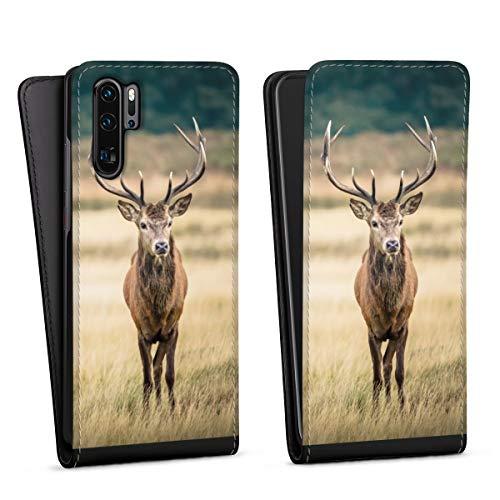 DeinDesign Flip Case kompatibel mit Huawei P30 Pro Tasche Hülle Hirsch Wald Wiese