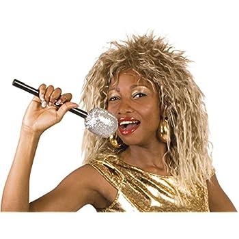 Adulto Donna 1980s SINGER Rocker Parrucca Bionda//Marrone Costume Accessorio